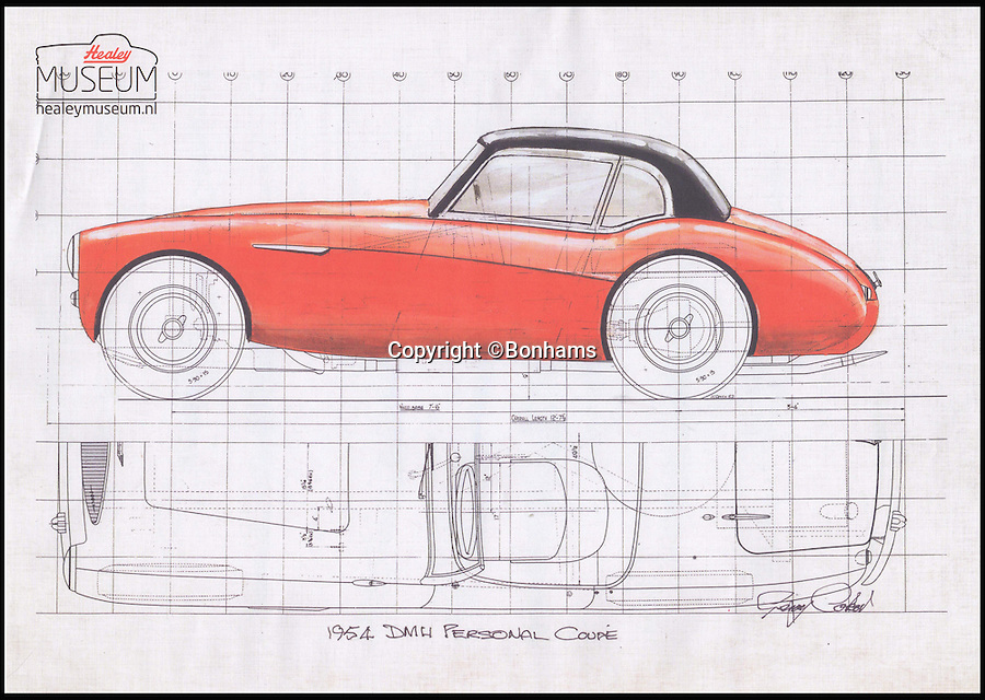 BNPS.co.uk (01202 558833)<br /> Pic: Bonhams/BNPS<br /> <br /> The original Gerry Coker technical drawing of ONX 113.<br /> <br /> A unique Austin-Healey prototype vehicle that the owner of the British car company liked so much he used it as his main car for 10 years has emerged for sale for more than £600,000.<br /> <br /> The red motor was the result of a request by Donald Healey to his chief designer to come up with a coupe version of the Austin-Healey 100 convertible sports car.<br /> <br /> The millionaire businessman was so taken with the nippy two seater that he kept it for himself as his daily drive.