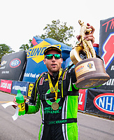 Aug 19, 2018; Brainerd, MN, USA; NHRA pro stock driver Deric Kramer celebrates after winning the Lucas Oil Nationals at Brainerd International Raceway. Mandatory Credit: Mark J. Rebilas-USA TODAY Sports