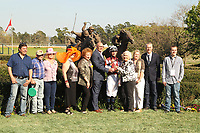HOT SPRINGS, AR - MARCH 18: Winning Jockey Chris Landeros and owners of Streamline #7 after winning the Azeri Stakes race at Oaklawn Park on March 18, 2017 in Hot Springs, Arkansas. (Photo by Justin Manning/Eclipse Sportswire/Getty Images)