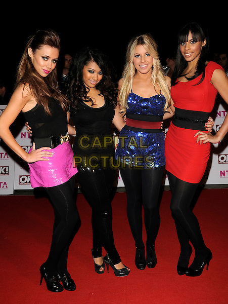 THE SATURDAYS .The National Television Awards held at the Royal Albert Hall, London, England. October 29th, 2008.NTA red carpet arrivals full length black tights leggings blue sequins sequined dress red pink skirt top hand on hip shorts playsuit jumpsuit girlband group .CAP/CAN.©Can Nguyen/Capital Pictures.
