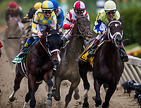 BALTIMORE, MD - MAY 20:  Cloud Computing #2 ridden by Javier Castellano establishes early position behind the leaders during the Preakness Stakes at Pimlico Race Course on May 20, 2017 in Baltimore, Maryland. (Photo by Alex Evers/Eclipse Sportswire/Getty Images)