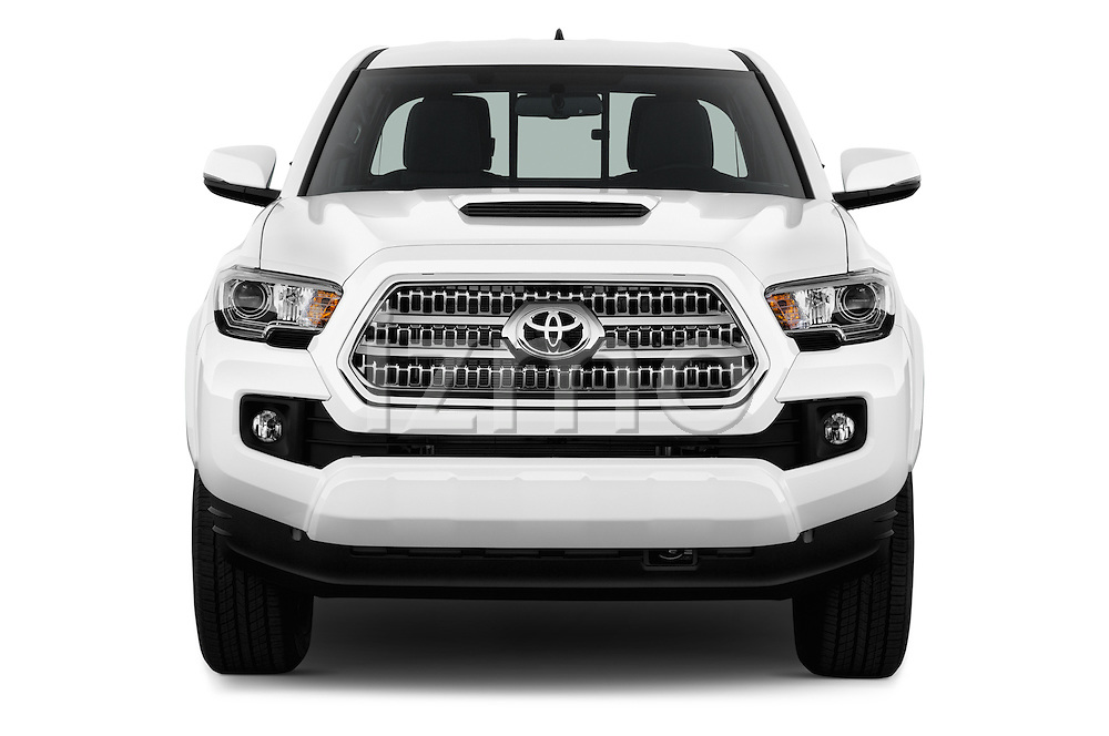 Car photography straight front view of a 2016 Toyota Tacoma TRD Sport 4 Door Pick Up Front View