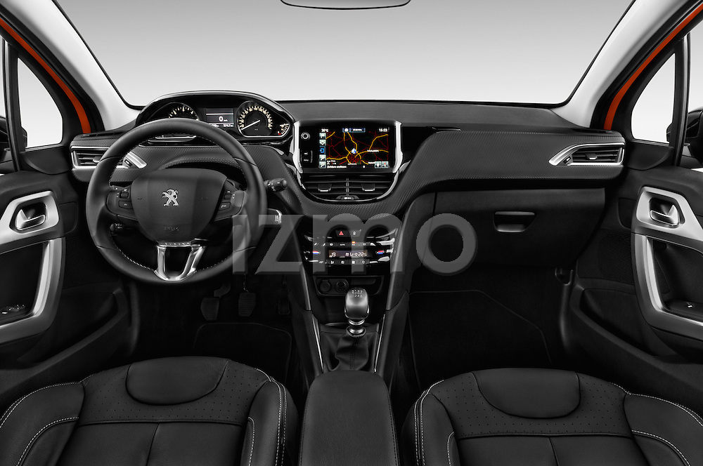 Stock photo of straight dashboard view of 2015 Peugeot 208 Allure 5 Door Hatchback Dashboard