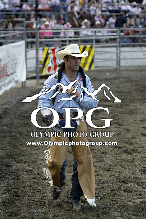 23 August 2008:  Bobby Mote from Culver, Oregon riding the horse Witch Doctor scored a 85 on his ride at the Kitsap County Stampede Rodeo in Bremerton, Washington.