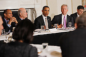 United States President Barack Obama (C) meets with his Council on Jobs and Competitiveness, group of business leaders tapped to come up with job-spurring ideas, including (L-R) American Express Chairman and CEO Kenneth Chenault, White House Chief of Staff William Daley, General Electric CEO Jeffrey Imelt and Office of Management and Budget Director Jacob Lew, in the State Dining Room at the White House January 17, 2012 in Washington, DC. Headed by General Electric CEO Jeffrey Imelt, the council released a report with suggestions, including investment in education and research and development, support for the manufacturing sector and reform in the tax and regulatory systems..Credit: Chip Somodevilla / Pool via CNP