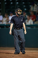 Home plate umpire Tyler Jones during a game between the Jupiter Hammerheads and the Daytona Tortugas on April 13, 2018 at Jackie Robinson Ballpark in Daytona Beach, Florida.  Daytona defeated Jupiter 9-3.  (Mike Janes/Four Seam Images)