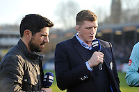 Bath Rugby Player Development Director Stuart Hooper speaks live on BT Sport at half-time. Aviva Premiership match, between Bath Rugby and Harlequins on February 18, 2017 at the Recreation Ground in Bath, England. Photo by: Patrick Khachfe / Onside Images