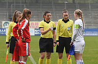 20190409  - Tubize , BELGIUM : referee Angelika Soeder (M) with Sanni Ojanen (R) and Malin Gut (L) pictured during the soccer match between the women under 19 teams of Switzerland and Finland , on the third matchday in group 2 of the UEFA Women Under19 Elite rounds in Tubize , Belgium. Tuesday 9 th April 2019 . PHOTO DIRK VUYLSTEKE / Sportpix.be