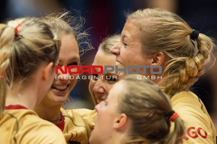 05.10.2014, Pala Trieste, Triest<br /> Volleyball, FIVB Volleyball Women`s World Championship 2014, 2. Runde, Deutschland (GER) vs. Aserbaidschan (AZE)<br /> <br /> Jubel Heike Beier (#12 GER), Margareta Kozuch (#14 GER), Mareen Apitz (#20 GER), Maren Brinker (#4 GER), Lenka D&uuml;rr / Duerr (#1 GER)<br /> <br />   Foto &copy; nordphoto / Kurth