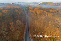 63895-16916 Road at sunrise and fog Stephen A. Forbes State Park-aerial-Marion Co. IL