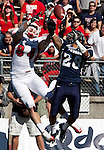 October 22, 2011:   Nevada Wolf Pack defensive back (28) Isaiah Frey knocks the ball away from Fresno State Bulldogs receiver Ryan Skidmore during a WAC league game played at Mackay Stadium in Reno, Nevada.