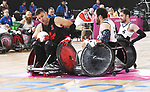 Team Canada plays USA in wheelchair rugby at the para swimming at the 2019 ParaPan American Games in Lima, Peru-27aug2019-Photo Scott Grant
