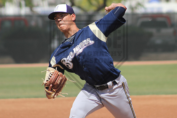 MARYVALE - March 2014: Anthony Banda of the Milwaukee Brewers during a spring training game against the Los Angeles Angels of Anaheim on March 25th, 2014 at Maryvale Baseball Park in Maryvale, Arizona.  (Photo Credit: Brad Krause)
