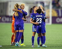 Orlando, Florida - Saturday, April 23, 2016:  Orlando Pride forwards Lianne Sanderson (10) and Jasmyne Spencer (23) celebrate their 4-1 victory during an NWSL match between Orlando Pride and Houston Dash at the Orlando Citrus Bowl.