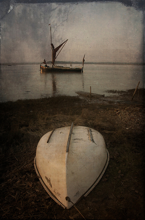 An old sailing boat at Eiken, Suffolk, England