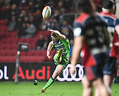 23rd March 2018, Ashton Gate, Bristol, England; RFU Rugby Championship, Bristol versus Yorkshire Carnegie; Callum Irvine of Yorkshire Carnegie kicks a penalty on half time
