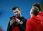 Jake Wright of Sheffield Utd reads the programme during the Championship match at Villa Park Stadium, Birmingham. Picture date 23rd December 2017. Picture credit should read: Simon Bellis/Sportimage