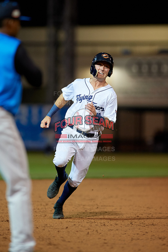 Lakeland Flying Tigers second baseman Kody Clemens (8) running the bases during a Florida State League game against the Tampa Tarpons on April 5, 2019 at Publix Field at Joker Marchant Stadium in Lakeland, Florida.  Lakeland defeated Tampa 5-3.  (Mike Janes/Four Seam Images)