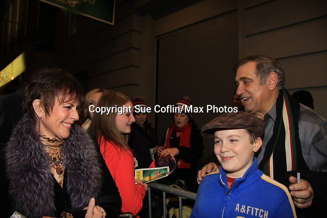 """Joe West makes his Broadway Debut as """"Ralphie"""" in A Christmas Story The Musical with One Life To Live Dan Lauria as he signs for Colleen Zenk  on November 21, 2012 at the Lunt-Fontaine Theatre, New York City, New York. (Photo by Sue Coflin/Max Photos)"""