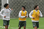 Mexico national soccer team players Francisco Javier Rodriguez (L), Mario Mendez  and Duilio Davino train during a training session at the Centro Pegaso training center, March 27, 2006. Photo by Javier Rodriguez