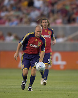 Real Salt Lake midfielder Clint Mathis (84) waits for ball to settle a bit before shooting. Salt Lake Real defeated Toronto FC, 3-0, at Rio Tinto Stadium on June 27, 2009.