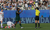 GRENOBLE, FRANCE - JUNE 22: Yellow Card: Desire Oparanozie #9 of the Nigerian National Team issued by Yoshimi Yamashita during a game between Nigeria and Germany at Stade des Alpes on June 22, 2019 in Grenoble, France.