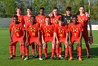 20180417 - TUBIZE , BELGIUM : Team of Belgium with Amine Et Taibi (3)   Lucas Beerten (4)  Lukas Willen (5)   Yves Mitsindo (6)   Nils De Wilde (7)   Luca Oyen (8)   Kazeem Olaigbe (9)  Johan Bakayoko (11)   Gaetano Bellante (12)   Arne Engels (14)   Nathan Ngoy (17)  pictured during the friendly  soccer match between  under 15 teams of  Belgium and Switzerland , in Tubize , Belgium . Tuesday 17 th April 2018 . PHOTO SPORTPIX.BE / DIRK VUYLSTEKE