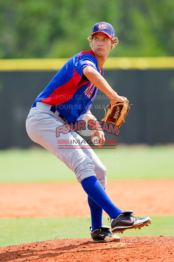 Jack Wynkoop #11 of NABF in action against the American Legion at the 2011 Tournament of Stars at the USA Baseball National Training Center on June 26, 2011 in Cary, North Carolina.  NABF defeated American Legion 5-0. (Brian Westerholt/Four Seam Images)