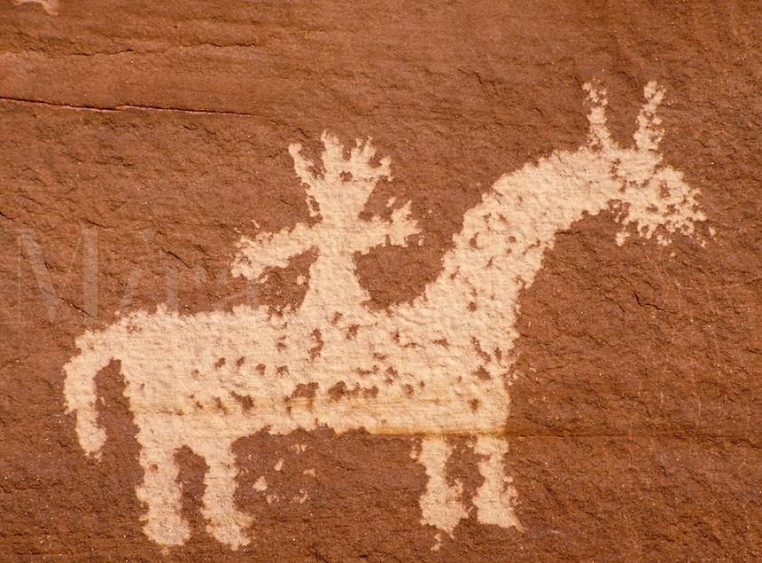 Ute Indian rock art, Petroglyph. Utah USA Arches National Park.
