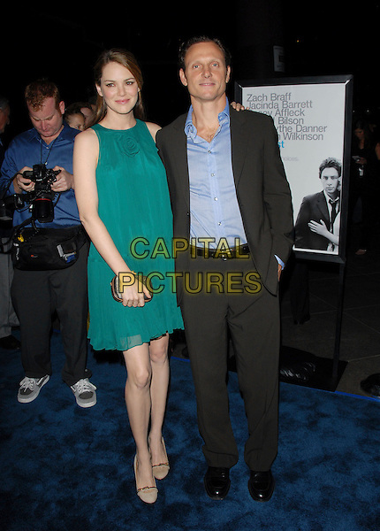 "JACINDA BARRETT & TONY GOLDWYN.L.A. Premiere of ""The Last Kiss"" held at The DGA in West Hollywood, California, USA..September 13th, 2006.Ref: DVS.full length turquoise dress grey gray suit.www.capitalpictures.com.sales@capitalpictures.com.©Debbie VanStory/Capital Pictures"