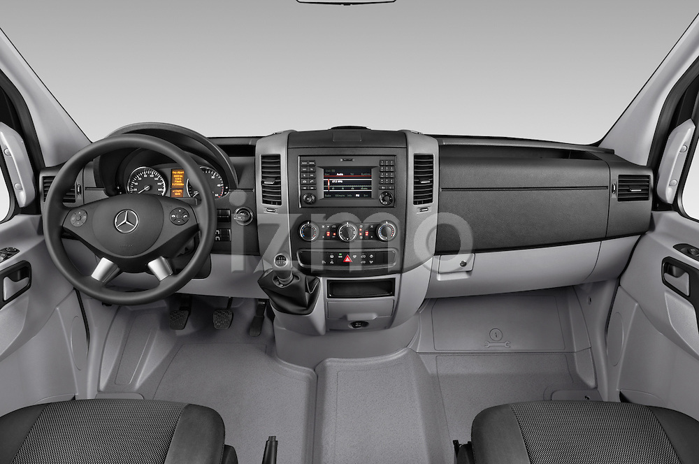 Stock photo of straight dashboard view of a 2014 Mercedes Benz Sprinter 316CDi MWB 4 Door Combi 2WD Dashboard