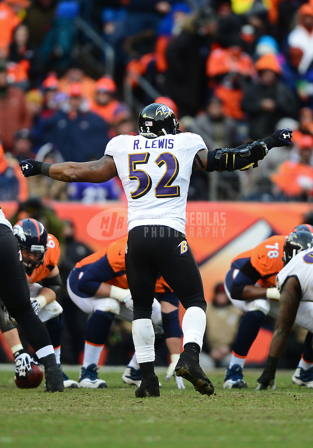 Jan 12, 2013; Denver, CO, USA; Baltimore Ravens linebacker Ray Lewis (52) calls a play against the Denver Broncos during the AFC divisional round playoff game at Sports Authority Field.  The Ravens defeated the Broncos 38-35 in double overtime. Mandatory Credit: Mark J. Rebilas-