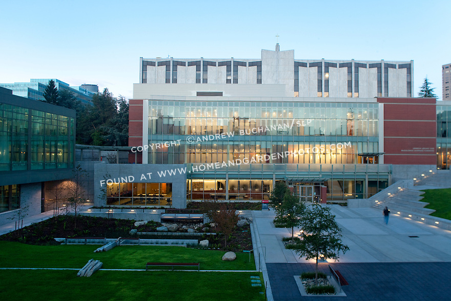 An early evening shot of Seattle University's Lemieux Library and McGoldrick Learning Commons