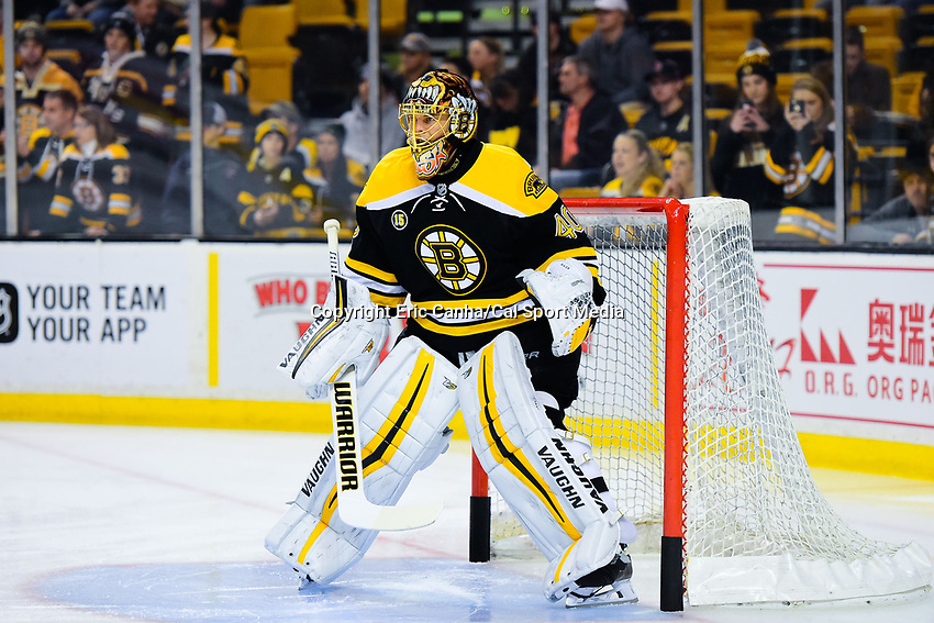 Tuesday, January 24, 2017: Boston Bruins goalie Tuukka Rask (40) prepares for the National Hockey League game between the Detroit Red Wings and the Boston Bruins held at TD Garden, in Boston, Mass. Boston defeats Detroit 4-3 in overtime. Eric Canha/CSM