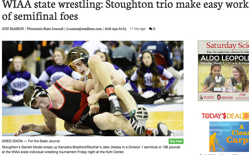 Stoughton's Garrett Model (top) wins over Kenosha Bradford/Reuther's Jake Deates in the Division 1, 138 pound weight class during Friday's semifinal round of the WIAA Wisconsin state wrestling tournament at the Kohl Center in Madison | Wisconsin State Journal Sports 2/27/16 and online at http://host.madison.com/wsj/sports/high-school/wrestling/wiaa-state-wrestling-stoughton-trio-make-easy-work-of-semifinal/article_719fa1c1-a276-50c9-95e0-b242f228e5ca.html
