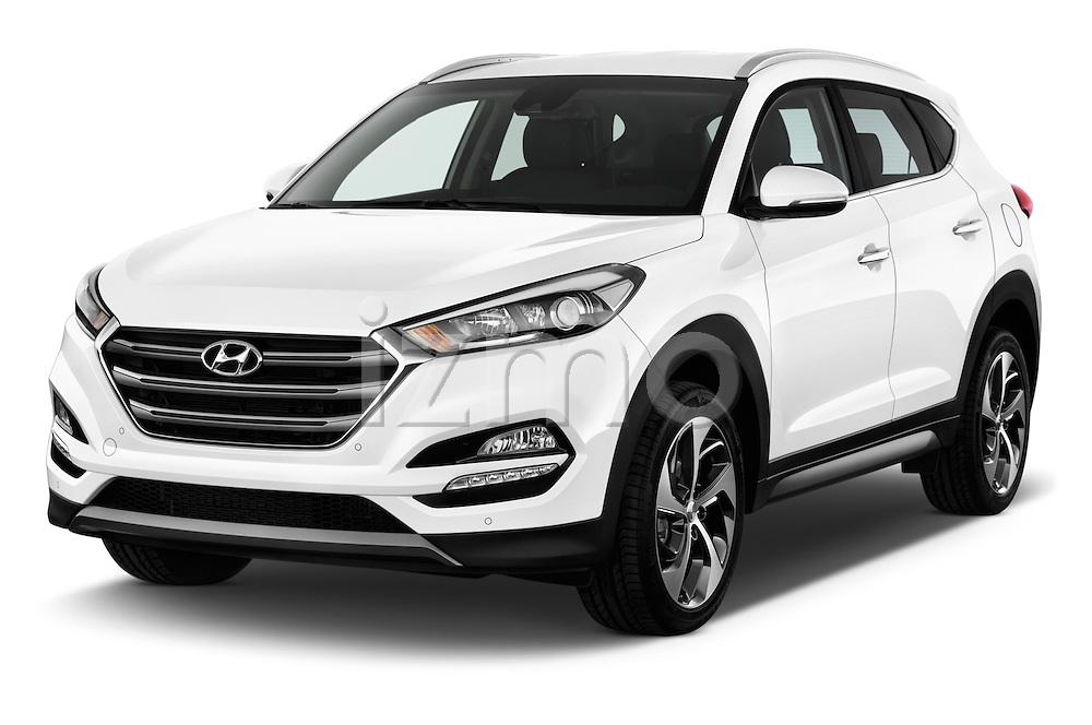 2015 Hyundai Tucson Launch Edition 5 Door Suv Angular Front stock photos of front three quarter view