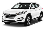 2015 Hyundai Tucson Launch Edition 5 Door Suv Angular Front stock photos of front three quarter view