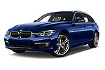 Stock pictures of low aggressive front three quarter view of a 2017 BMW 3 Series Touring Luxury 5 Door Wagon