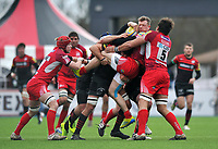 Phil Mackenzie is tackled in possession. Aviva Premiership match, between Saracens and London Welsh on March 3, 2013 at Allianz Park in London, England. Photo by: Patrick Khachfe / Onside Images