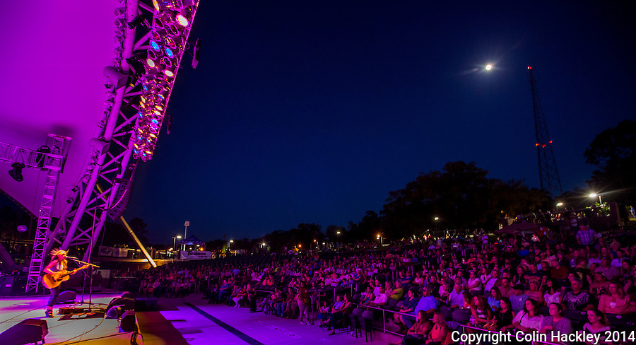 Stagelight and moonlight blend together during a concert in the amphitheater of Cascades Park in Tallahassee, Fla.<br /> <br /> COLIN HACKLEY PHOTO