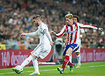Atletico de Madrid spanish foward Fernando Torres and Real Madrid spanish defender Sergio Ramos during the king´s cup football match with Atletico de Madrid vs Real Madrid at the Santiago Bernabeu stadium in Madrid on Jaunary 15, 2015. Samuel de Roman / Photocall3000.