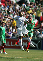 Wilber Sanchez (left) heads the ball over Gerardo Torres (6). Mexico defeated Nicaragua 2-0 during the First Round of the 2009 CONCACAF Gold Cup at the Oakland, Coliseum in Oakland, California on July 5, 2009.