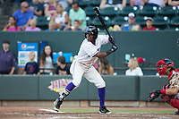 Luis Alexander Basabe (16) of the Winston-Salem Dash at bat against the Potomac Nationals at BB&T Ballpark on August 5, 2017 in Winston-Salem, North Carolina.  The Dash defeated the Nationals 6-0.  (Brian Westerholt/Four Seam Images)