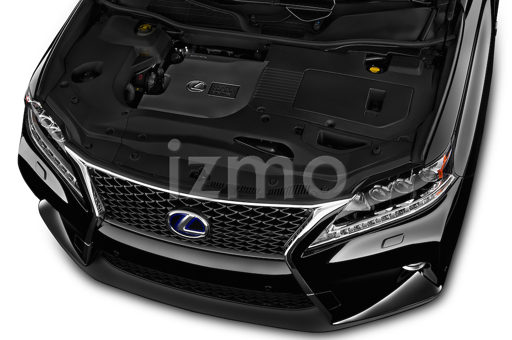 Car Stock 2015 Lexus RX F Sport 5 Door SUV 2WD Engine high angle detail view