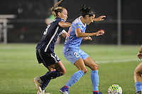 Piscataway, NJ - Saturday Aug. 27, 2016: Christie Rampone, Christen Press during a regular season National Women's Soccer League (NWSL) match between Sky Blue FC and the Chicago Red Stars at Yurcak Field.