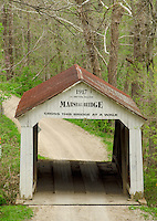 The Marshall Covered Bridge crosses Rush Creek in Parke County, Indiana