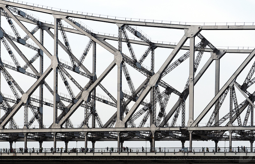 The Howrah Bridge at Calcutta (Kolkata) in West Bengal in India.