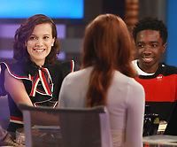 NEW YORK, NY October 31, 2017  Millie Bobby Brown, Caleb Mclaughlin at Good Morning America  to talk about the new season of Stranger Things in New York October 31,  2017. Credit:RW/MediaPunch
