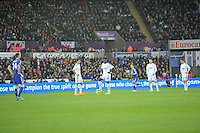 SWANSEA, WALES - JANUARY 17:   of  during the Barclays Premier League match between Swansea City and Chelsea at Liberty Stadium on January 17, 2015 in Swansea, Wales.<br /> <br /> Swansea's Bafetimbi Gomis waiting to restart after Chelsea's second goal