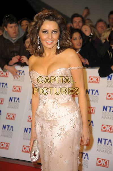 Carol Vorderman.arrivals at The National Television Awards, O2 Greenwich, London, England. .25th January 2012.NTA NTAS half length dress white lace off the shoulder .CAP/CAS.©Bob Cass/Capital Pictures.